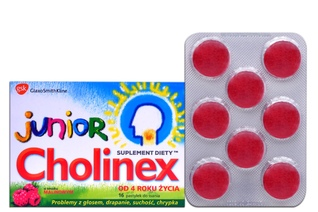 CHOLINEX JUNIOR O SMAKU MALINOWYM 16 past.