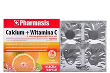 CALCIUM + WITAMINA C SMAK POMARAŃCZOWY 16 tabletek musujących